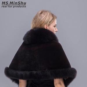 Image 5 - Capa de piel de zorro recortada Rex para mujer, chal de piel de zorro, Pashmina de piel Real, PonchoWinter, capa femenina MS.MinShu