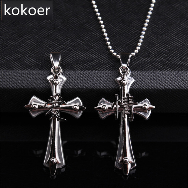 Stainless steel classic simple cross necklaces pendants titanium stainless steel classic simple cross necklaces pendants titanium steel black color for female and male aloadofball Image collections