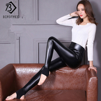 2017 New Autumn Winter Women PU Pants Mid High Waist Spliced Black Standard Thick Stirrup Leggings