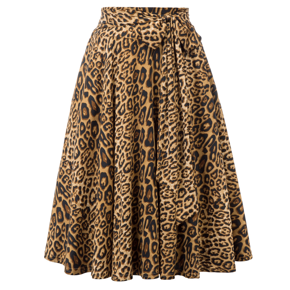 Vintage Skirt Women Leopard Skirts With Pockets Belt Decorated Flared A-Line Knee-length Sexy Elegant Party Office Skater Skirt
