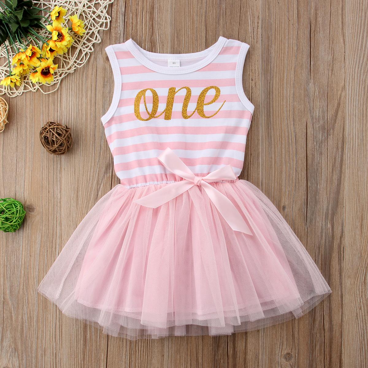 6db6e9f048 2018 NEW Newborn Baby Girls First 1st Birthday Tutu Tulle Dress Toddler  Dresses SUMMER stripe pink purple lovely stylish CH