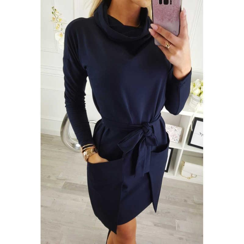 Водолазка с длинным рукавом на шнуровке Платье женское повседневное серое черное синее мини осень зима платья сексуальные свободные платья для вечеринок Vestidos