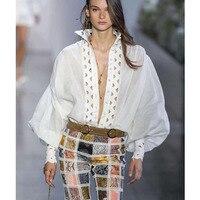Cosmicchic 2019SS взлетно посадочной полосы белая рубашка выдалбливают Блузка модные длинные фонари рукавом дизайнеры зим