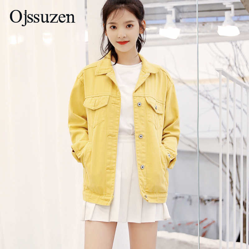 7ba63cd823f Autumn New Casual Sweet Coats For Female Fashion Korean Yellow Jackets  Women Denim Outerwear Preppy Style