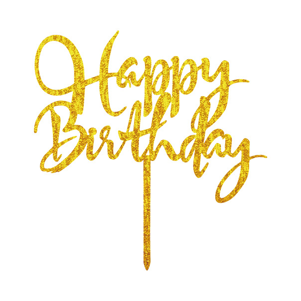 4 Colors Acrylic Happy Birthday Cake Flags Shiny Gold Acrylic Cake Topper For Birthday Party Supplies Hot Sale