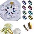 2 unids Polvo de Uñas de Arte Brillante Espejo y 8 unids Lentejuelas Pigmento de Cromo Decoración Del Arte Del Clavo 10 box/Set