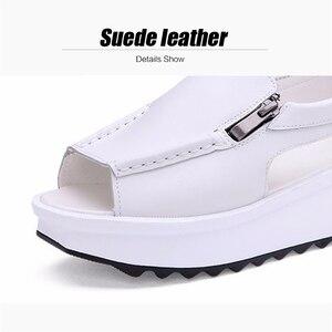 Image 5 - 2019 letnie damskie sandały na platformie buty oryginalne skórzane damskie kliny sandały z odkrytymi palcami na zamek Sandalias buty dla kobiet 8332