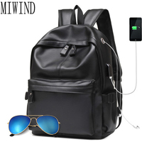 Brand Backpack Men External USB Charge Antitheft School Bag Leather Travel Bag Casual Business Male Students school bag THW358