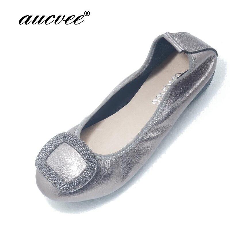 34 43 Woman Shoes Flat Genuine Leather Slip on Ballet Flats Anti slip Ladies Flat