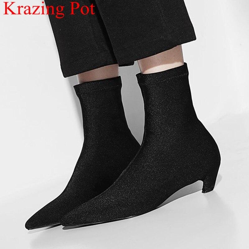 2018 Mode Med Heels Strech Stoff Mid-kalb Stiefel Elegante Concise Runway Spitz Concise Partei Socke Stiefel Herbst Schuhe L61 Dinge Bequem Machen FüR Kunden