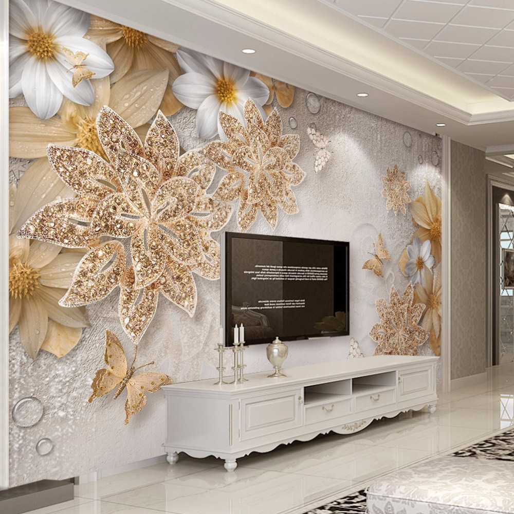 Custom Mural Wallpaper For Bedroom Walls 3D Luxury Gold Jewelry Flower Butterfly Background Wall