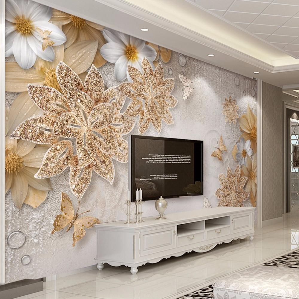 Personalizzato Murale Carta Da Parati Per Pareti Camera Da Letto 3D di  Lusso Gioielli In Oro Della Farfalla Del Fiore Sfondo Muro di Carte di  Carte di ...