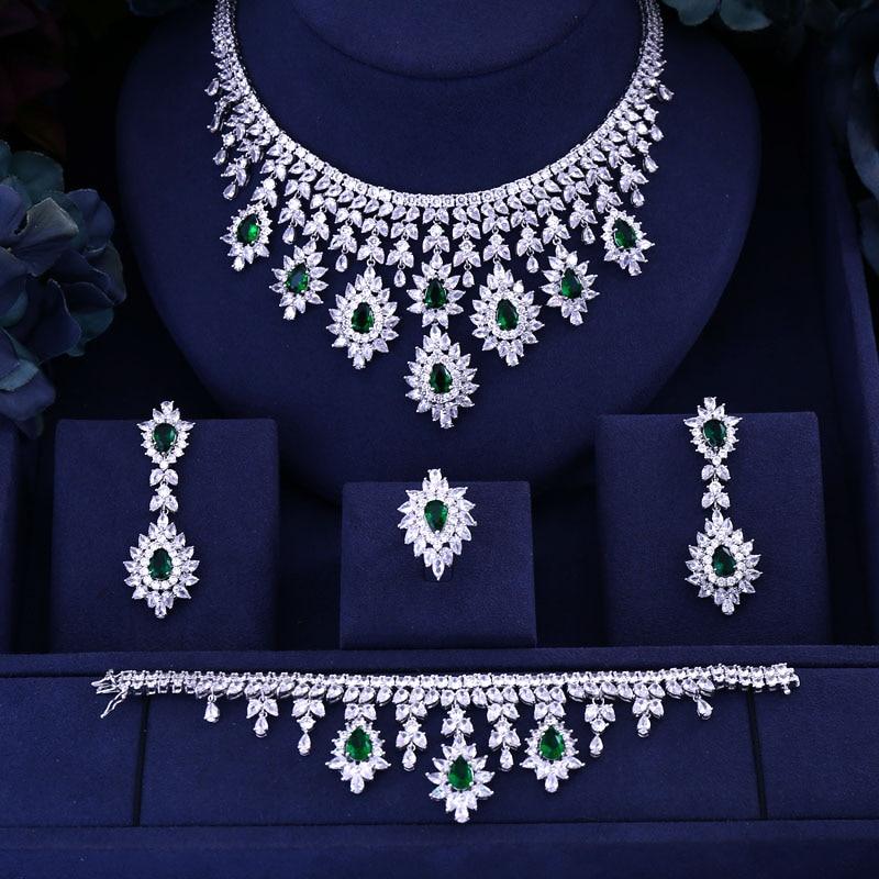 Full-Jewelry-Set Necklace Wedding Cubic-Zirconia Bracelet Ring Drop-Earrings Dubai Bridal