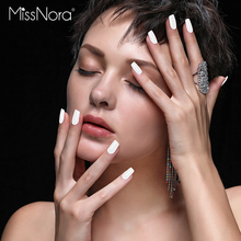 MISS NORA 6ML White Nail Polish Soak Off Quick Drying Gel oil Semi Permanent Top Coat Varnishes Lacquer