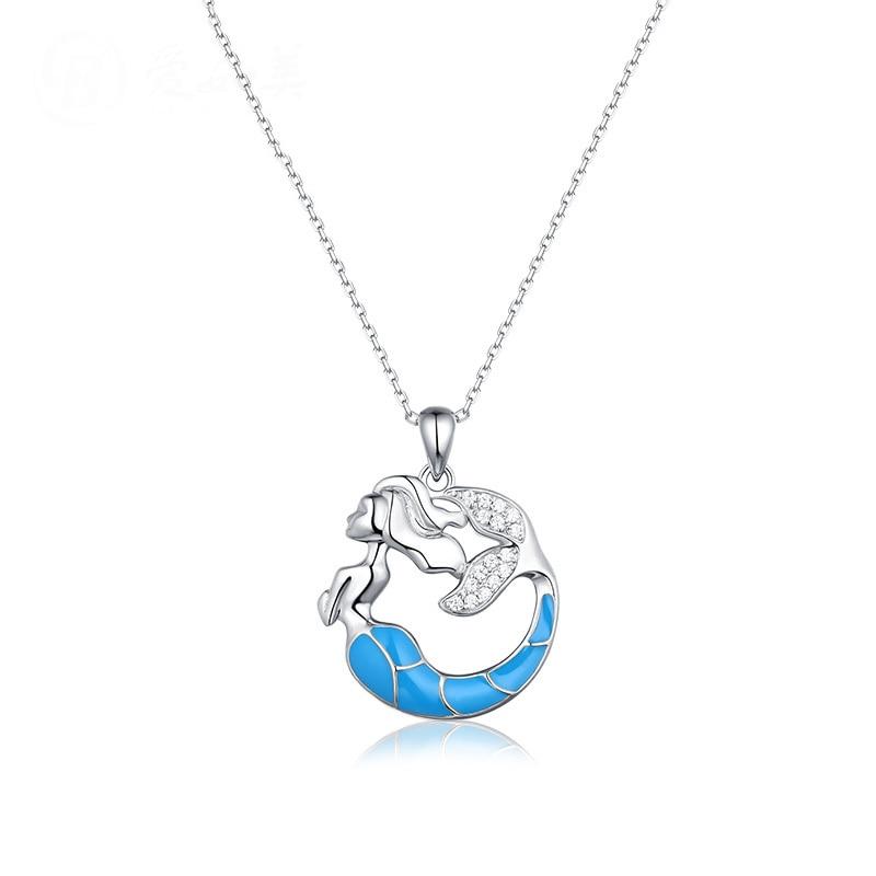 925 sterling argent sirène collier pendentif beau cadeau anniversaire cadeau d'anniversaire