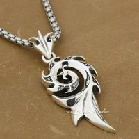 925 Sterling Silver Tribal Barb Tattoo Mans Biker Pendant 8A020(Necklace 24inch)