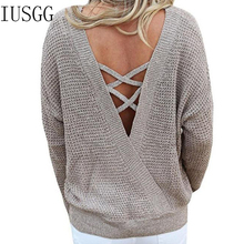 Sexy Backless V-neck Sweater Long Sleeve Women Pullover Knitted Christmas Sweater Fall 2019 Fashion Lace Up Loose Jumper Tops plus lace up jumper