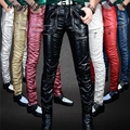 Men's leather pants Slim European and American fashion personality locomotive washed PU leather pants punk nightclub Harley M