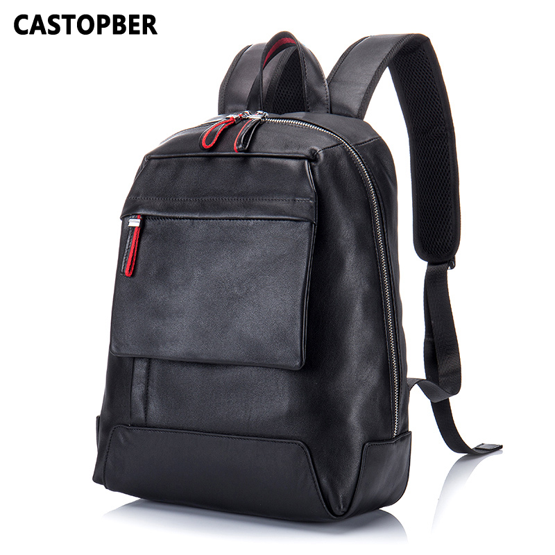 Men Multifunctional Backpacks Bags Shoulder Waterproof Black School Bag Cowhide Genuine Leather High Quality Famous Brand