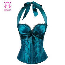 Green Satin Bows Halter Neck Victorian Corsets And Bustiers Sexy Push Up Corset Lingerie Plus Size Women Gothic Clothing Korset