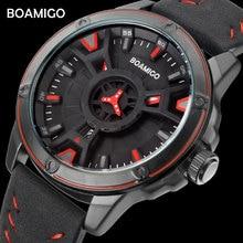 BOAMIGO luxus top marke männer quarzuhr kreative mode lässig sport leder armbanduhr auto datum uhr relogio masculino