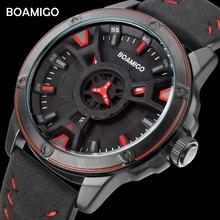 BOAMIGO 럭셔리 브랜드 남성 쿼츠 시계 크리 에이 티브 패션 캐주얼 스포츠 가죽 손목 시계 자동 날짜 시계 relogio masculino