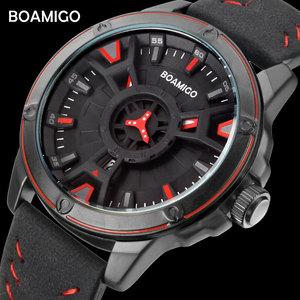 Image 1 - BOAMIGO יוקרה למעלה מותג גברים קוורץ שעון יצירתי אופנה מזדמן ספורט עור שעון יד תאריך אוטומטי שעון relogio masculino