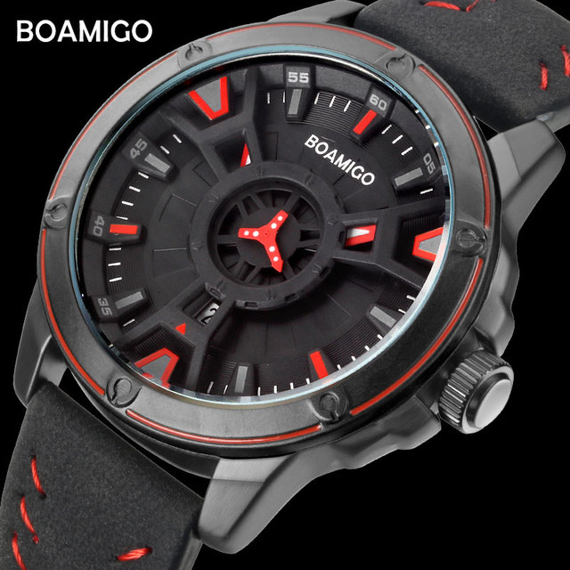 BOAMIGO יוקרה למעלה מותג גברים קוורץ שעון יצירתי אופנה מזדמן ספורט עור שעון יד תאריך אוטומטי שעון relogio masculino