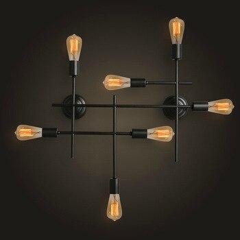 Водопроводная настенная лампа, винтажная Проходная лампа, лофт, железные лампы Эдисона, Трубная настенная лампа, черная готовая E27, подходит...