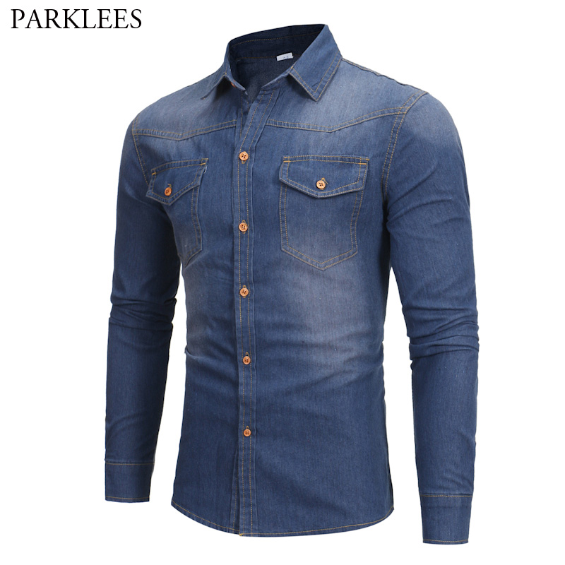 Classic Jeans Shirt Men 2017 Brand New Autumn Men Shirt Long Sleeve Slim Fit Chemise Homme Casual Button Down Mens Dress Shirts