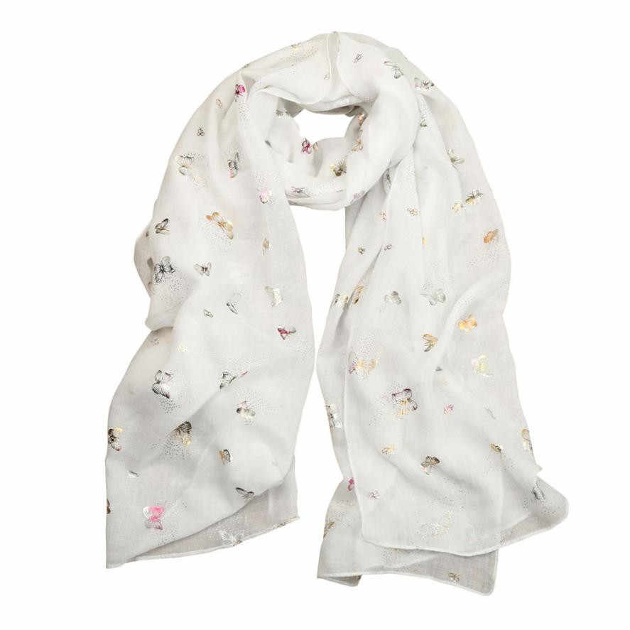 8d5d18ad8871e ... Women New Foil Gold Butterfly Scarf Long Wrap Summer Thin Ladies Scarves  And Stoles Luxury Brand ...
