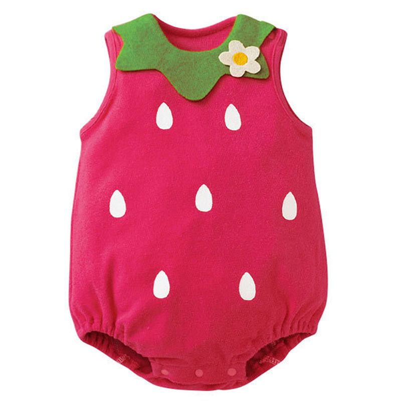 Baby Girl Cartoon Jumpsuit Infant Toddler Boy Sleeveless Button Baby Suit