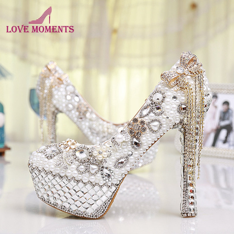 Handmade Crystal Rhinestone Bride Shoes Pearl Wedding Pumps Women White Ultra High Heels Women's Bridal Dress Shoes Prom Heels white pearl mother of the bride shoes with red bowtie wedding party prom high heels cinderella event shoes bridal pumps