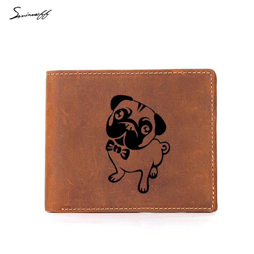 Engraved Lovely Pug Dog Cartoon Wallet Boy RFID Card Holders Small Coin Pocket Purses Crazy Horse Cow Leather Men Wallet