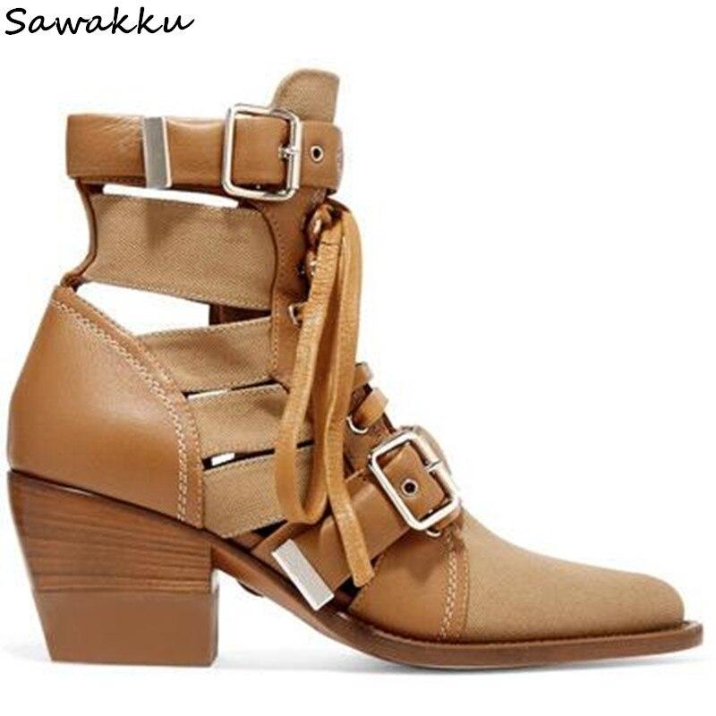 Nuove Donne di Disegno di Scarpe A Punta Cut-outs Caviglia Sandali Stivali Khaki Nero In Pelle Martin Botas Delle Signore di Modo Scarpe Zapatos mujer