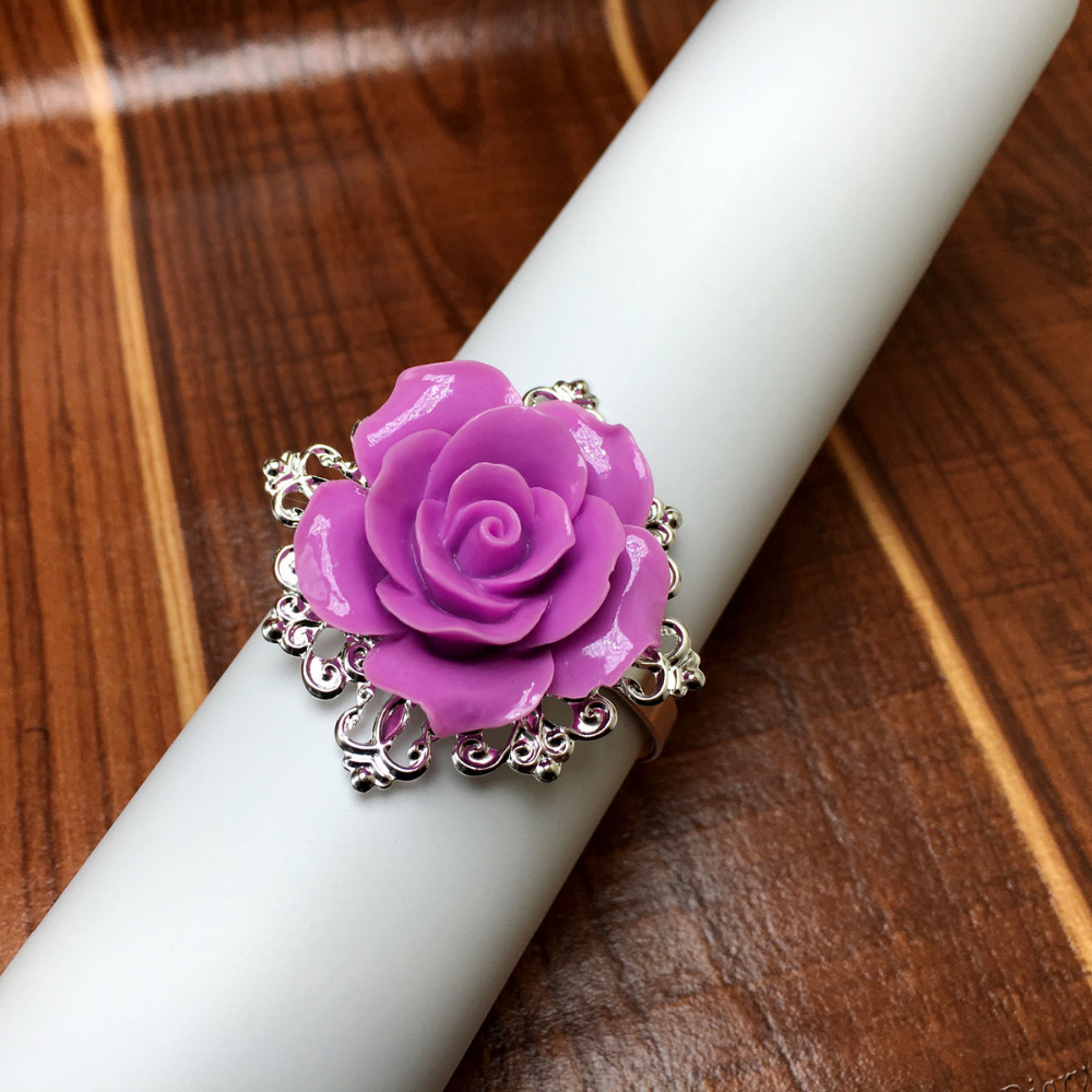 25pcs/lot Lavender Rose Napkin Ring Silver Hoops Romantic Nice Looking Weeding Party Table Decoration