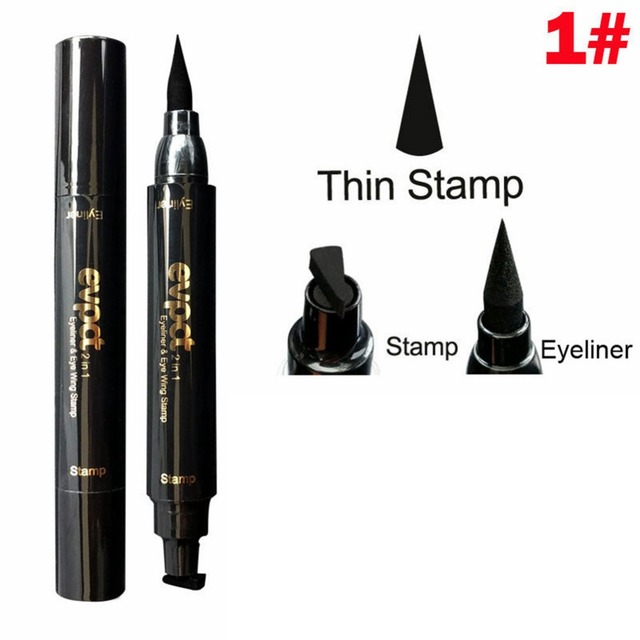 Double End Seal Liquid  Waterproof Wing Eye Liner Stamp and Pencil