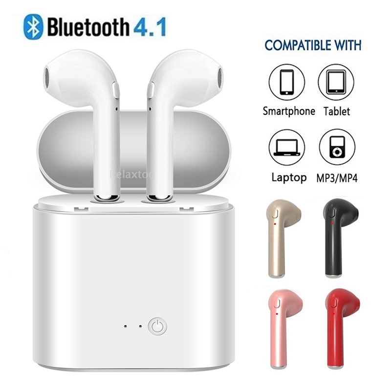 V4.1 Wireless Bluetooth Earphone TWS I7 Earphones Pair In-Ear Music Earbuds Set For Apple iPhone 6 7 Samsung Xiaomi Sony Huawei