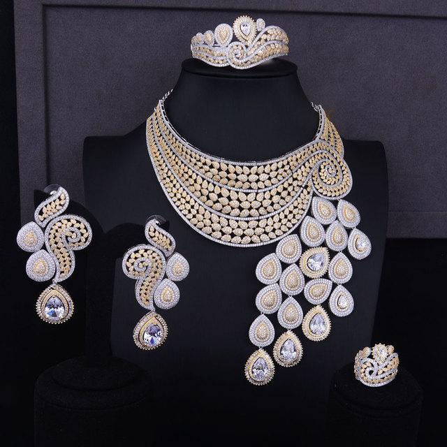 Big Luxury Peacock Tail Cubic Zirconia Jewelry Set