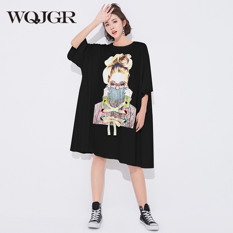 WQJGR Fashion 2018 Summer Dress New Short Sleeve Tide Character Printing Tied Bandwidth Loose T-shirt Dresses Woman Plus Sizes