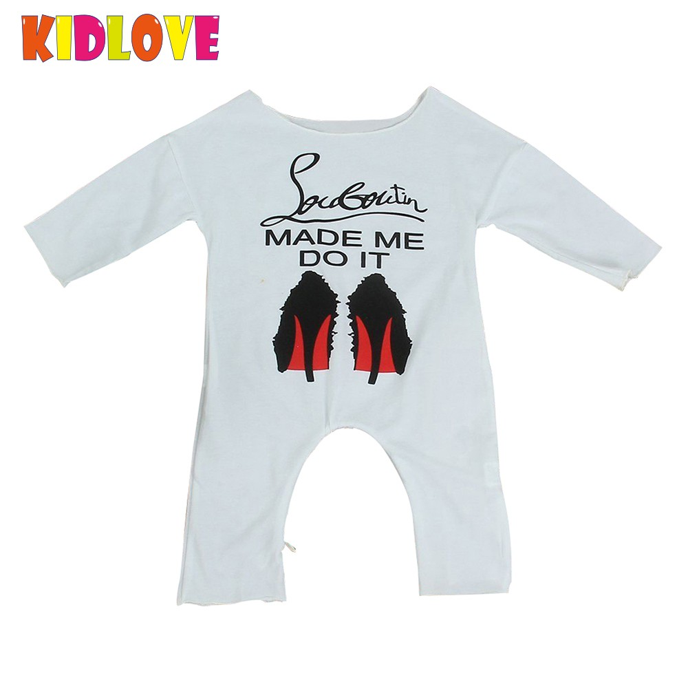 Kidlove Baby White Romper Long Sleeve Jumpsuit Infant Cotton Outfits Newborn Hot Sale High-heeled Shoes Print Clothes ZK30