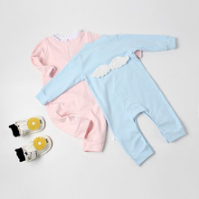 Spring Solid Soft Cotton Rompers Newborn Clothes Cute Long Sleeve Single Breasted Rompers With Wings Behind For Boy And Girl