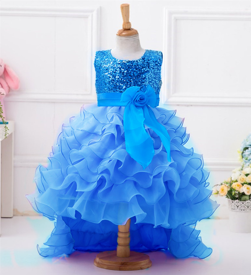 Kids New Arrivals Long Tail Flower Girls Dress for Party and Wedding Dress Children Evening Turquoise Blue Glitz Pageant Dress вечернее платье long evening dress pageant mermaid evening dress