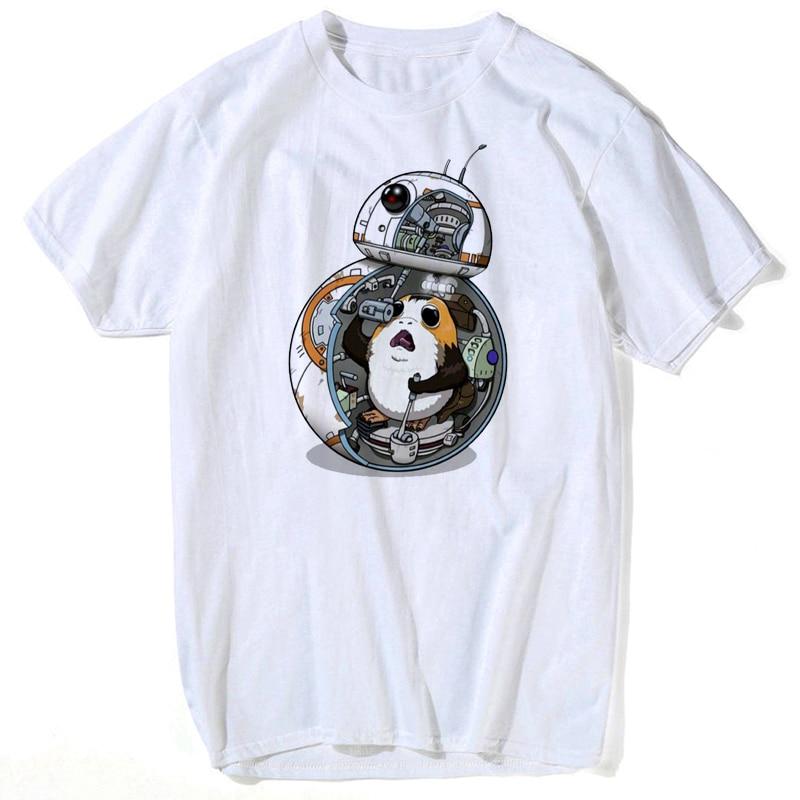 Pocket Porg Men's TShirts Tee Shirt Summer Short Sleeve Men T Shirt Male Star Wars Summer Tops For Men 2019 Streetwear