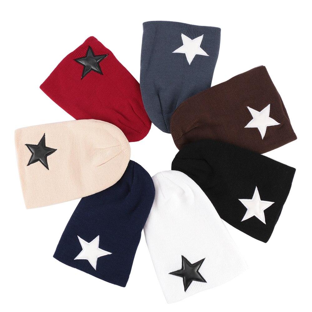 Women's Pentacle Star Beanies Hat Spring Plain Woolen Yarn Beanie Hip-Hop Warm Hats For Ladies