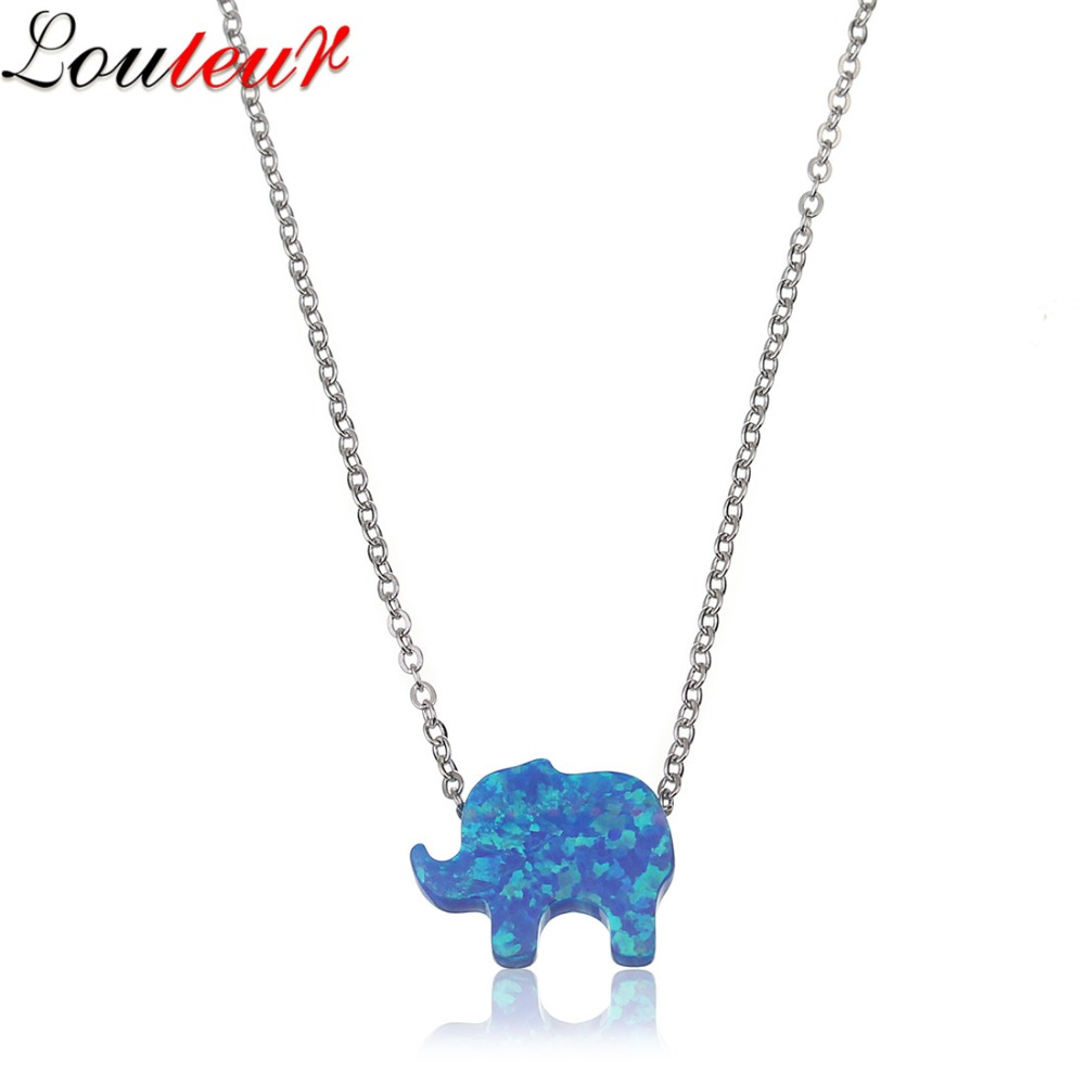 LOULEUR 2017 New Luxury Natural Stone Blue Fire Opals Necklace for Women Stainless Steel Chain Link Animal Elephant Necklace