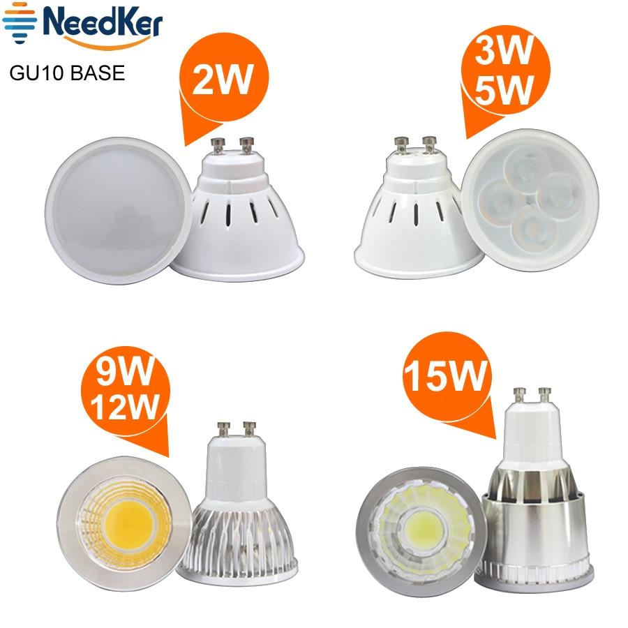 Gu10 Led Spotlights 2W 3W 5W SMD2835 Lamp Cup 9W 12W 15W Cob Led Lamp AC 110V 220V 240V Led Bulb Warm Cold White Led Light
