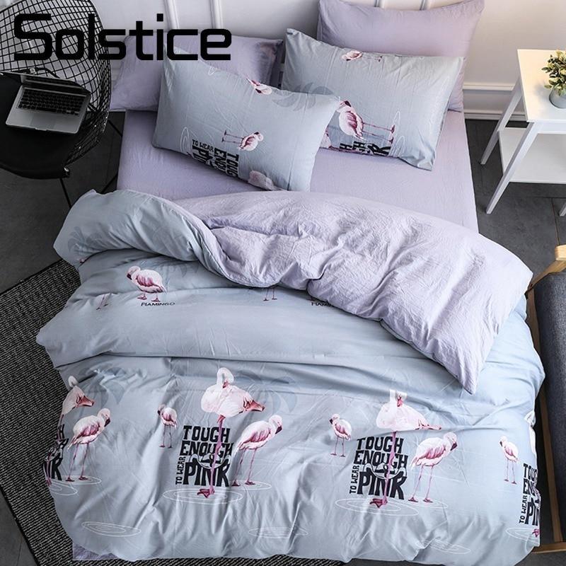 Solstice домашний текстиль серый Фламинго постельного белья девочек-подростков постельное белье Мягкие пододеяльник наволочка простыня Twin queen...