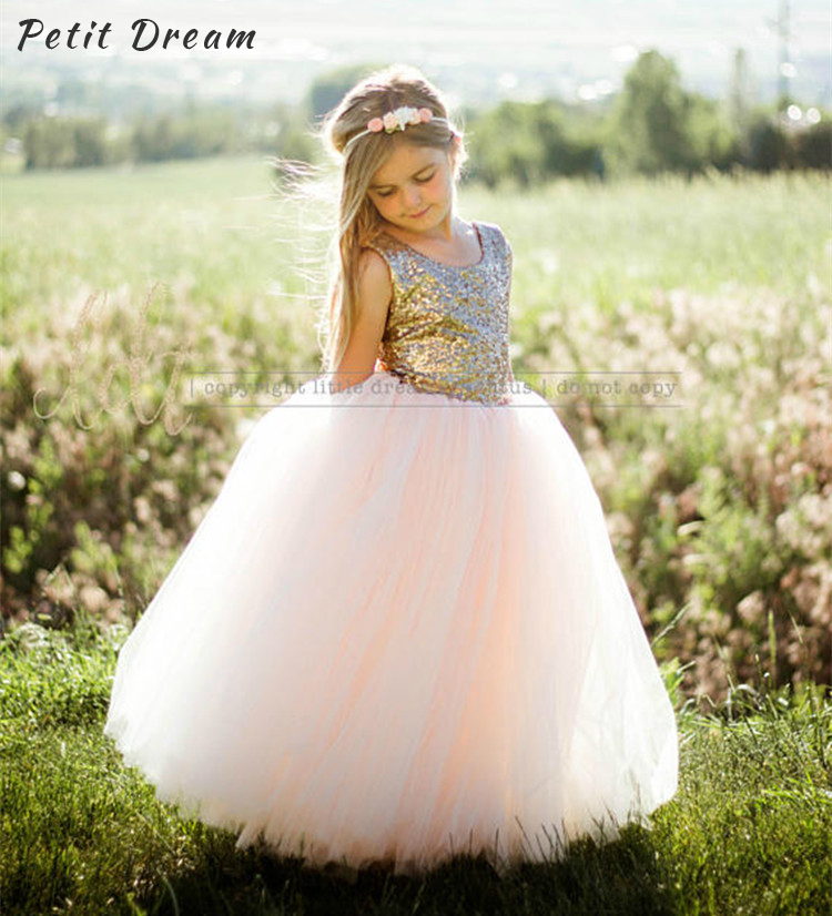 Petit Dream Sequined Blush Flower Girl Dress for Wedding Purple Sequined Tulle Kids Girl Party Dress Baby Girl Clothes Birthday цена
