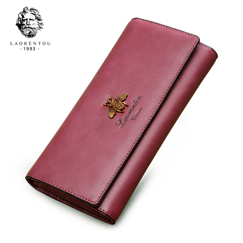 LAORENTOU Women Long Wallets Cow Leather Wallet Fashion Ladies Wallet Stylish Long Purse ...